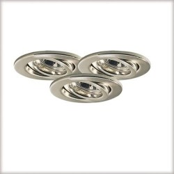 lot de 3 Spots encastrés GU5.3 12V/ 230v 3x20w orientable acier brossé ref 3043 paulmann nice price