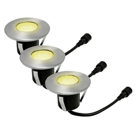 Lot de 3 balises LED blanc chaud à encastrer