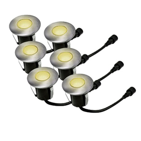 Lot de 6 mini balises LED blanc chaud à encastrer