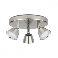 Lighttopps - Plafonnier 3 Spots SHAAP Led intégré Grand angle Nickel brossé