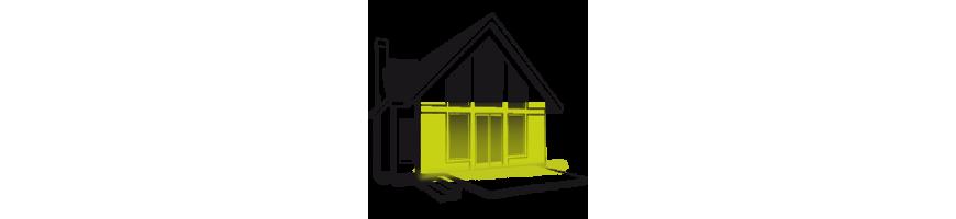 Façade de plein-pieds - éclairage extérieur lèche-mur avec tube lumineux extérieur
