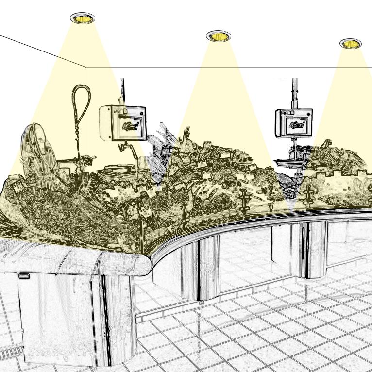 Eclairage présentoir à poissons réfrigéré