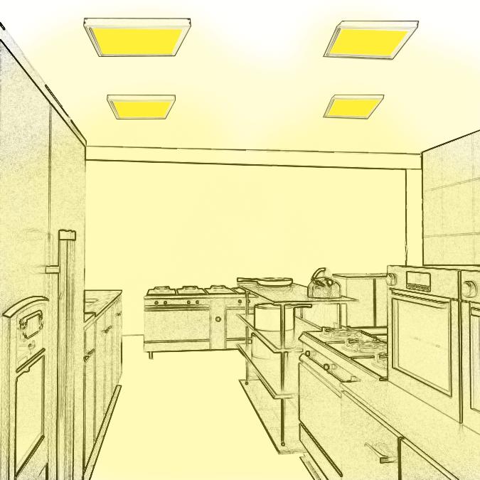 Eclairage des zones de travail, offices et cuisines
