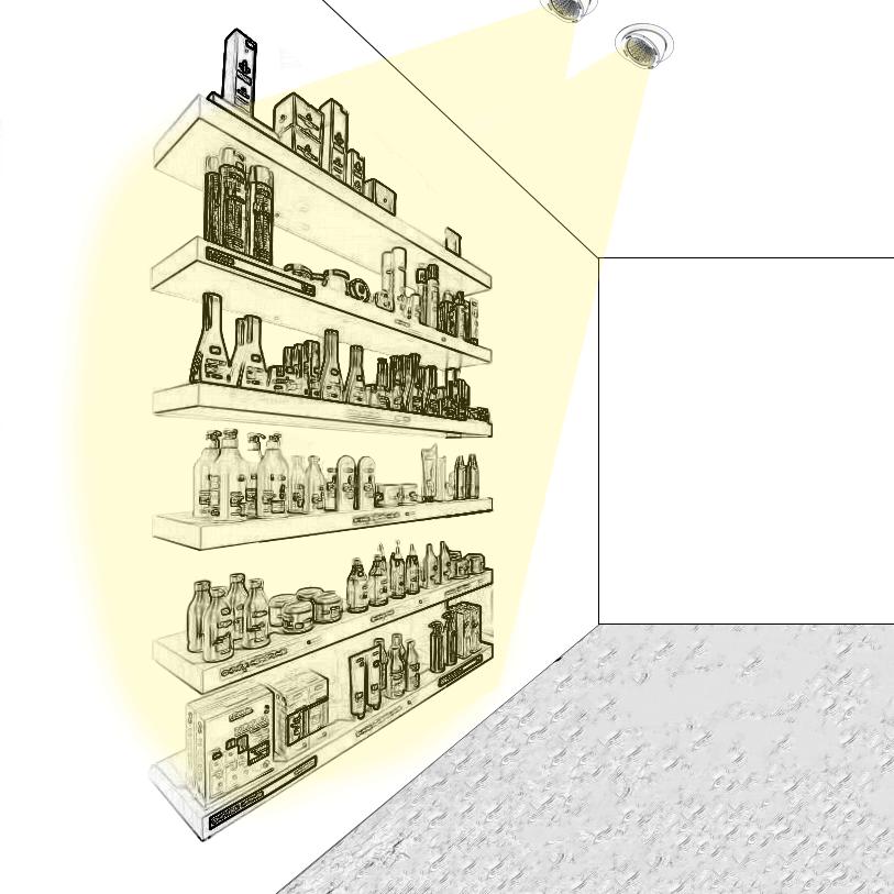Valorisez les produits présents sur des étagères grâce à l'éclairage