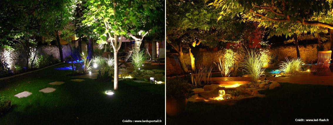 Eclairage de jardins avec deux températures de couleur différentes