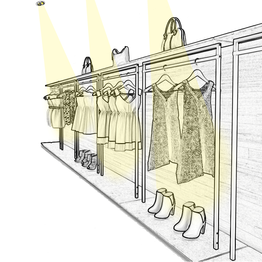 Eclairez les vêtements sur portants